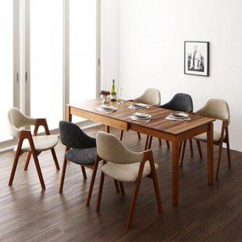 北欧デザイン天然木ウォールナット材 伸縮式ダイニング duree デュレ 7点セット(テーブル+チェア6脚) W120-180|人気の通販店Sotao