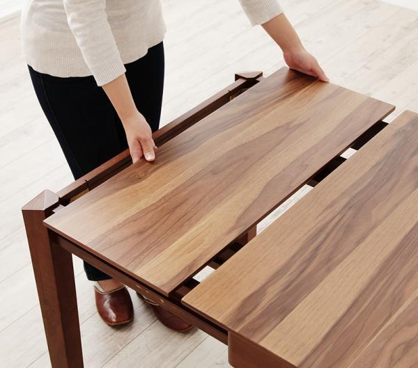 北欧デザイン天然木ウォールナット材 伸縮式ダイニング duree デュレ 5点セット(テーブル+チェア4脚) W120-180の画像