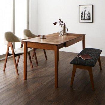 北欧デザイン天然木ウォールナット材 伸縮式ダイニング duree デュレ 4点セット(テーブル+チェア2脚+ベンチ1脚) W120-180|人気の通販店Sotao