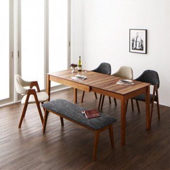 duree デュレ 6点セット(テーブル+チェア4脚+ベンチ1脚) W120-180