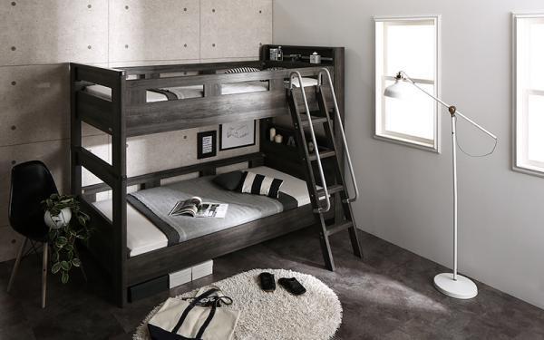 デザイン2段ベッド おしゃれなダークグレーカラー GRIGIO グリッジオの画像