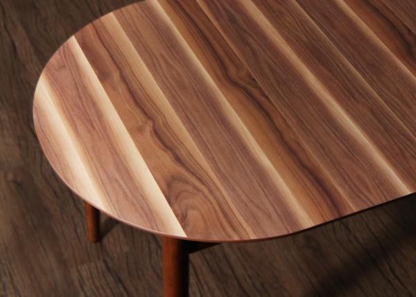伸縮式オーバルデザインダイニングW160-210EUCLASE ユークレース 4点セット(テーブル+チェア2脚+ベンチ1脚) の画像