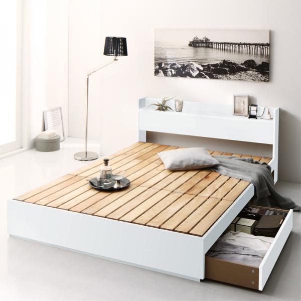 清潔に眠れる棚・コンセント付きすのこ収納ベッドAnela アネラ Dダブルの画像