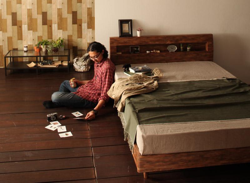 北欧ユーズドデザインすのこベッド 棚・コンセント付きシングルベッドJack timberジャック・ティンバーの画像