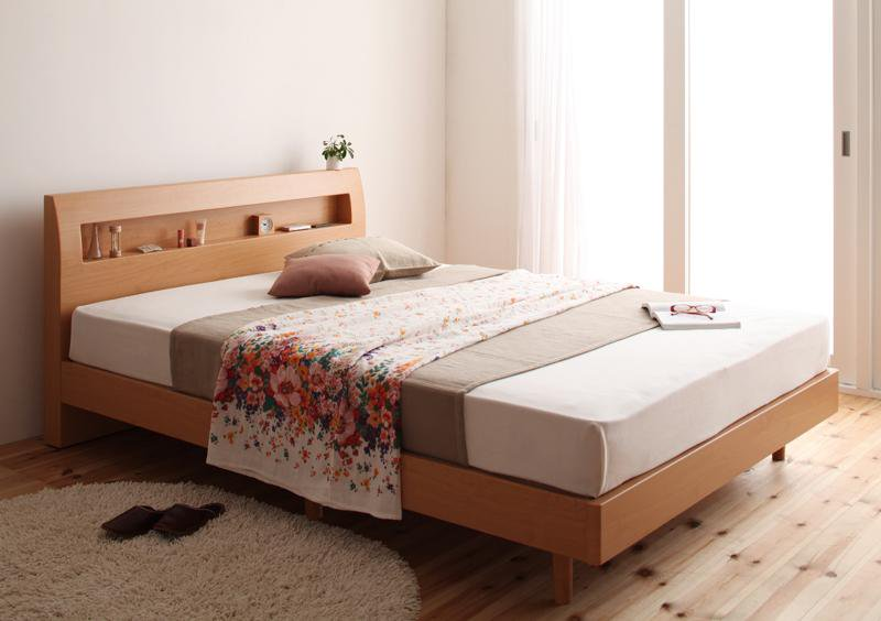 北欧ヴィンテージデザインベッド 棚・コンセント付き 全2色セミダブルベッドHaagenハーゲンの画像