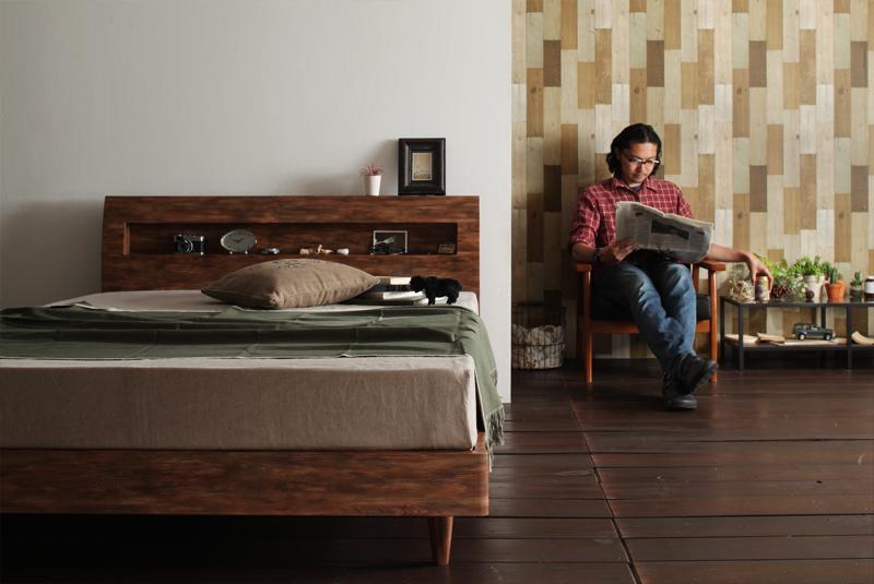 北欧ユーズドデザインすのこベッド 棚・コンセント付きセミダブルベッドJack timberジャック・ティンバー の画像