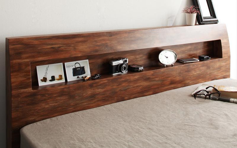 北欧ユーズドデザインすのこベッド 棚・コンセント付きダブルベッドJack timberジャック・ティンバーの画像