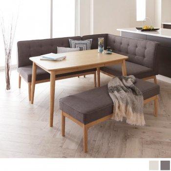 北欧ソファダイニングテーブルセットTIERYティエリー ベンチ4点セット(ダイニングテーブル+アームソファ+バックレストソファ+ベンチ)|人気の通販店Sotao