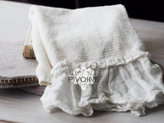 Pivoine フリルリネン タオルS ホワイト