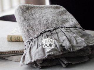 Pivoine フリルリネン タオルM グレージュ
