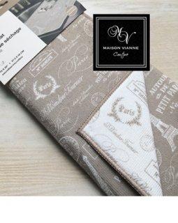 PARIS モチーフ ドライ デイッシュマット ベージュ&ホワイト