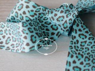 レオパード グログランリボン ブルー 38� 1y(90cm)