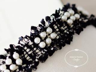 リュクス ツイードリボン パール Black&Ivory