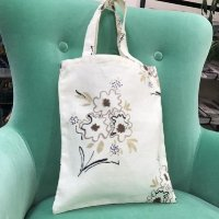 リナシータ ブックバッグ 花柄ホワイト