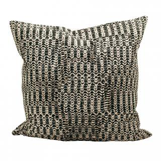CUSHION COVER DAISY PLEATS 50×50� (Grey/black)