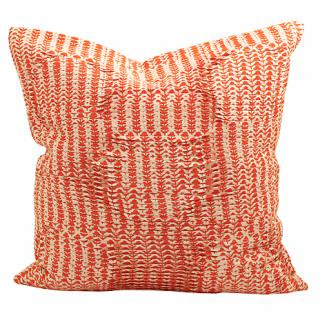 CUSHION COVER DAISY PLEATS 50×50� (Orange/offwhite)