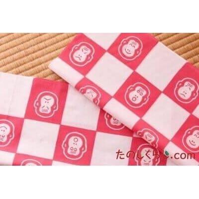 手拭い 市松猿(ピンク) (てぬぐい いちまつさる)