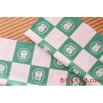 手拭い 市松猿(緑) (てぬぐい いちまつさる)