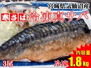 【冬の味覚を1年中!】気仙沼産冷凍真サバ ※3尾/1.8kg