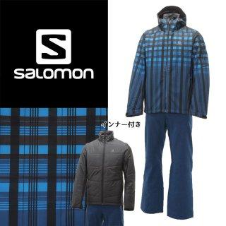 SALOMON(サロモン) L36368400/L36363600 メンズ 中綿インナー付き スキーウェア 上下セット ソフトシェル☆BLU