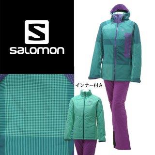 SALOMON(サロモン) L36365700/L36618700 レディース 中綿インナー付き スキーウェア 上下セット ソフトシェル☆GRN
