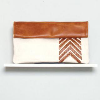 Sseko Designs:<br>Caramel Chevron Clutch