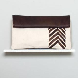 Sseko Designs:<br>Espresso Brown Chevron Clutch