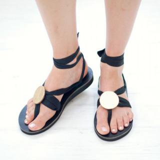 Sseko Designs:<br>Gold Metallic Circle Sandal Accent