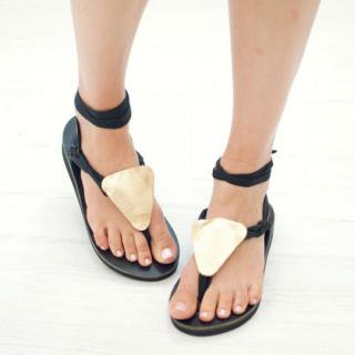 Sseko Designs:<br>Gold Metallic Triangle Sandal Accent