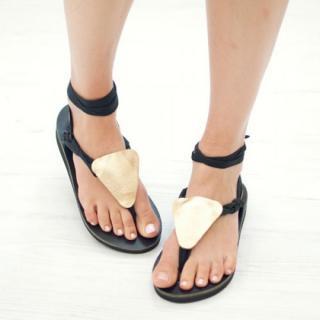Sseko Designs:<br>Gold Metallic Triangle Sandal Accent