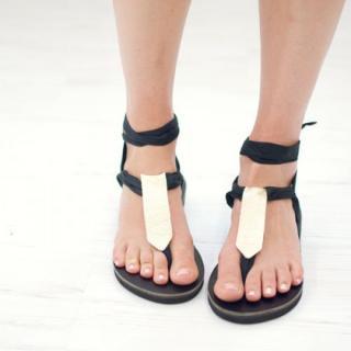 Sseko Designs:<br>Gold Metallic Rectangle Sandal Accent