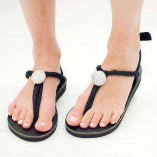 Sseko Designs:<br>Silver Glitter Bauble Sandal Accent