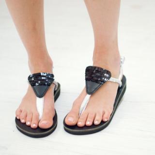 Sseko Designs:<br>Black Sequined Sandal Accent