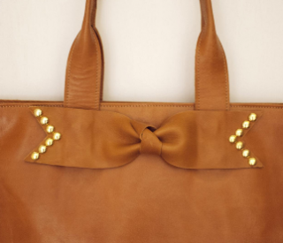Sseko Designs:<br>Caramel Studded Bow Tote Accent
