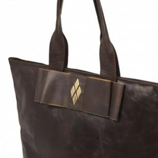 Sseko Designs:<br>Espresso Brown Leather Obi Tote Accent