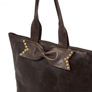 Sseko Designs:<br>Espresso Brown Stud Bow Tote Accent