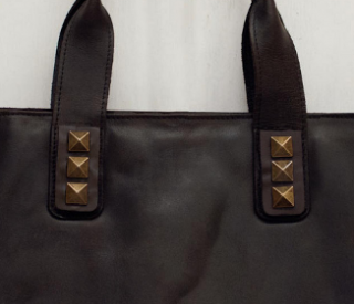 Sseko Designs:<br>Espresso Brown Bronze Studs Tote Accent