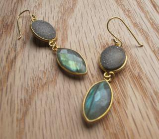 Belesas:<br>Labradorite & Grey Stone Earrings