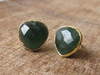 Belesas:<br>Green Emerald Stud Earrings