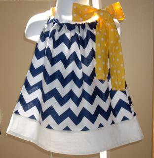 Back Porch Kids:<br>Pillowcase Dress<br>Navy x Yellow