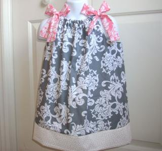 Back Porch Kids:<br>Pillowcase Dress<br> Grey x Pink