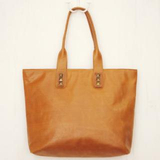 Sseko Designs:<br>Bronze Studs in Caramel Accent Tote