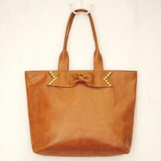 Sseko Designs:<br>Studded Bow in Caramel Accent Tote