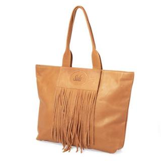 Sseko Designs:<br>Full Fringe in Caramel Accent Tote