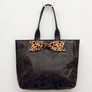 Sseko Designs:<br>Leopard Bow in Espresso Brown Accent Tote