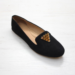 Sseko Designs:<br>Cone Stud Accent Leather Loafer<br>Black