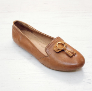 Sseko Designs:<br>Tassel Accent Leather Loafer<br>Caramel