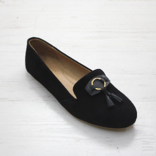 Sseko Designs:<br>Tassel Accent Leather Loafer<br>Black