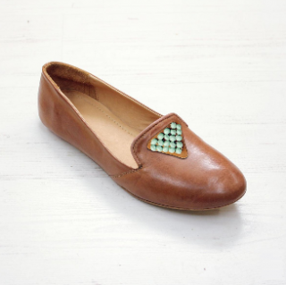 Sseko Designs:<br>Santorini Accent Leather Loafer<br>Caramel
