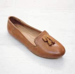 Sseko Designs:<br>Mini Tassel Accent Leather Loafer<br>Caramel